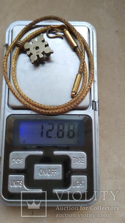 Старое серебряное украшение, позолота, камни., фото №5