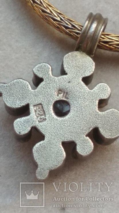 Старое серебряное украшение, позолота, камни., фото №8