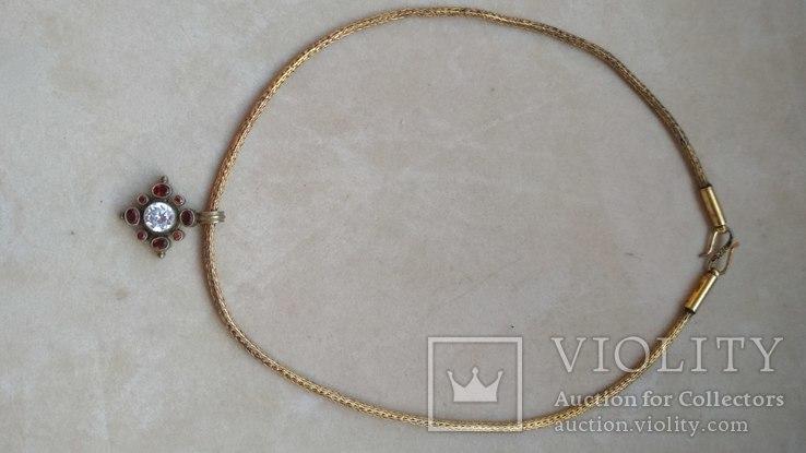 Старое серебряное украшение, позолота, камни., фото №11