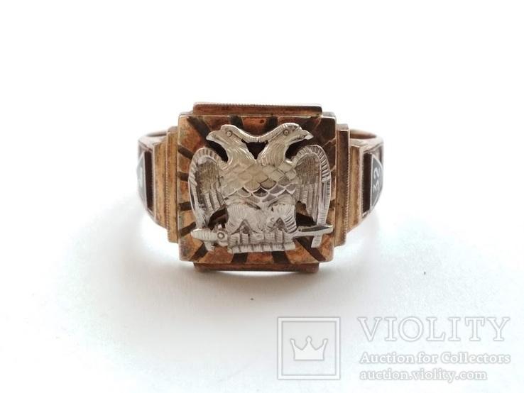 Масонское золотое кольцо, фото №2