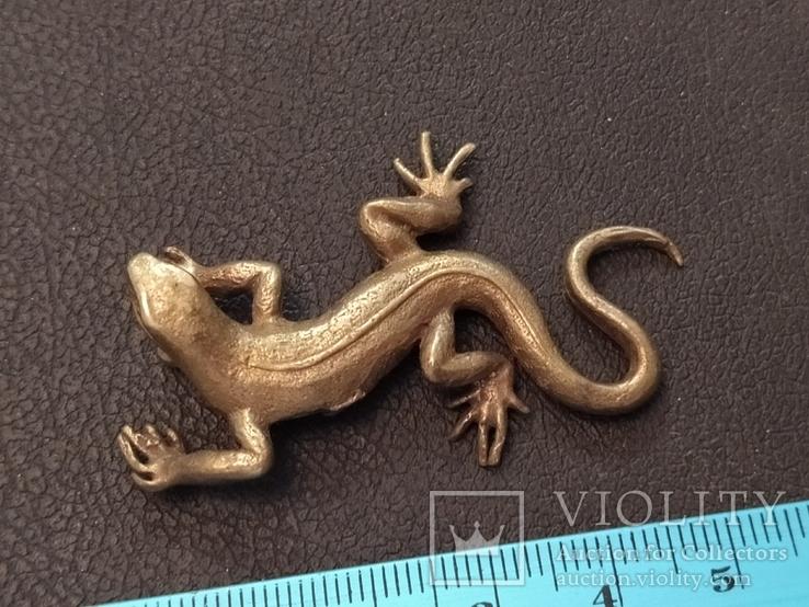 Ящерица саламандра коллекционная миниатюра бронза, фото №6