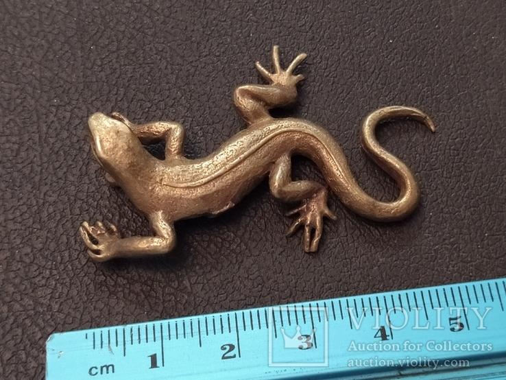 Ящерица саламандра коллекционная миниатюра бронза, фото №7