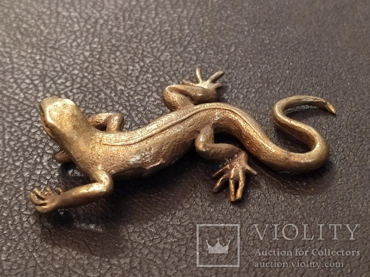 Ящерица саламандра коллекционная миниатюра бронза, фото №8
