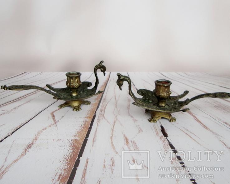 Старинные подносные подсвечники Жар-птица. Германия
