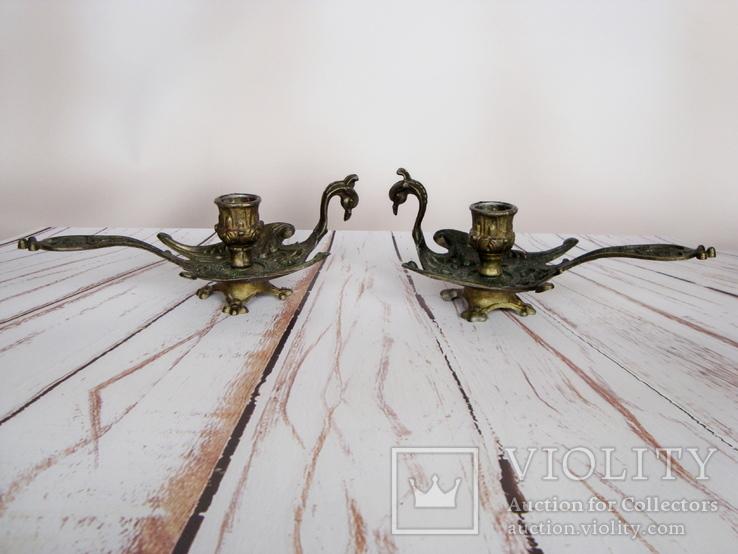 Старинные подносные подсвечники Жар-птица. Германия, фото №4