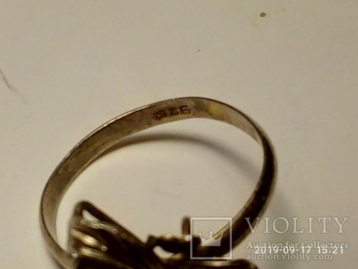 Набор сережки и кольцо серебро 925 пробы с камнями, фото №4