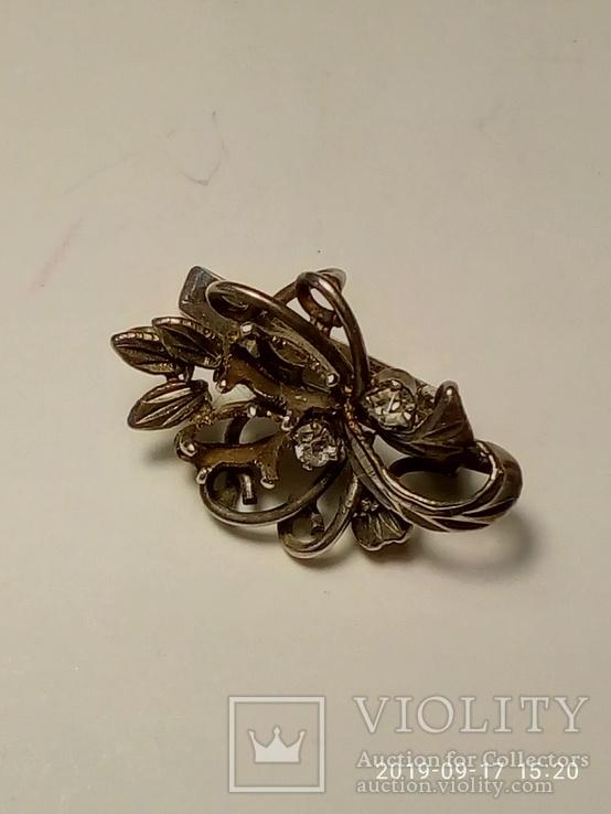 Набор сережки и кольцо серебро 925 пробы с камнями, фото №5