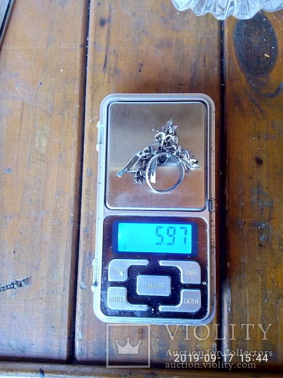 Набор сережки и кольцо серебро 925 пробы с камнями, фото №6