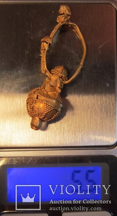 Золотая сережка, Хазарський каганат, Салтівська культура, вес 5.5 грм., фото №6