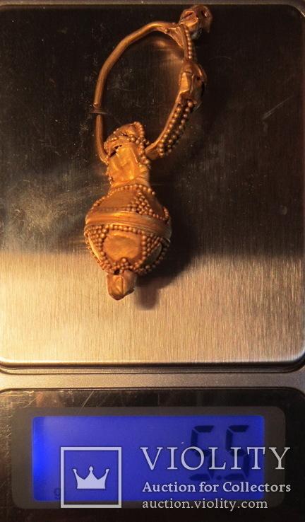 Золотая сережка, Хазарський каганат, Салтівська культура, вес 5.5 грм., фото №7