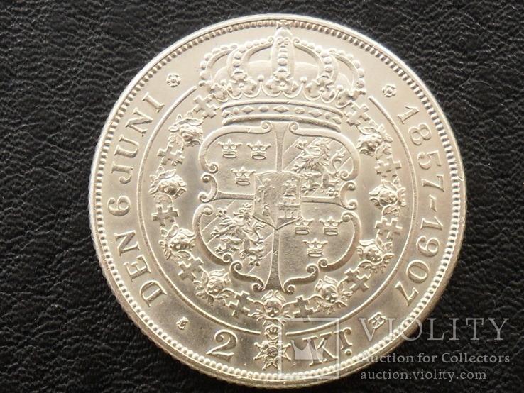 Швеция, 2 кроны 1907 г, фото №3