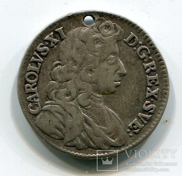 1 Марка Швеция Серебро Карл XI король Швеции (1655-1697), фото №2