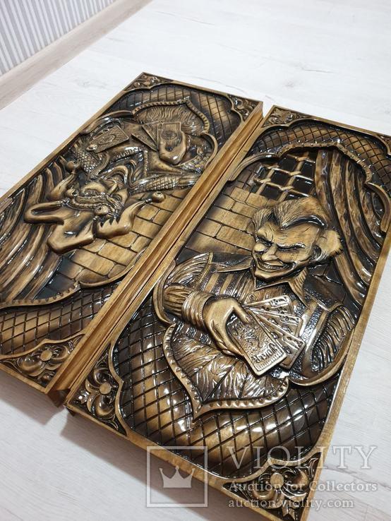 Большие дубовые нарды ручной работы, фото №3