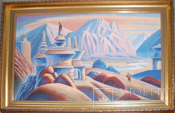 """Тибет """"Ступа на фоне гор"""""""