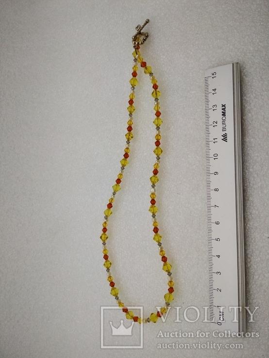 Ожерелье жемчуг стекло серебро 925, фото №2