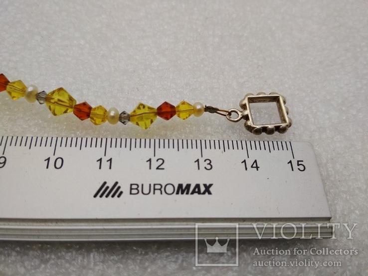 Ожерелье жемчуг стекло серебро 925, фото №3