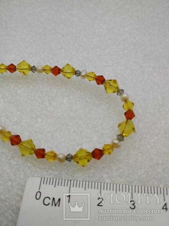 Ожерелье жемчуг стекло серебро 925, фото №4