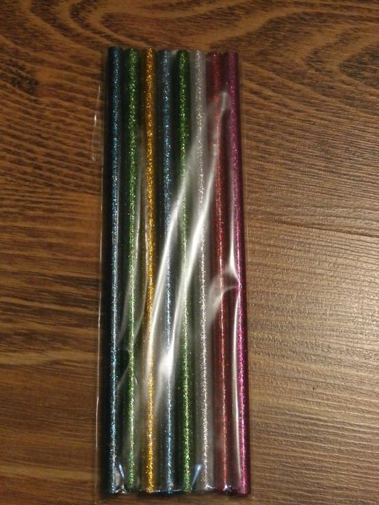 Силиконовый клей для пистолета с блестками 7мм (разноцветый) 8шт, фото №3