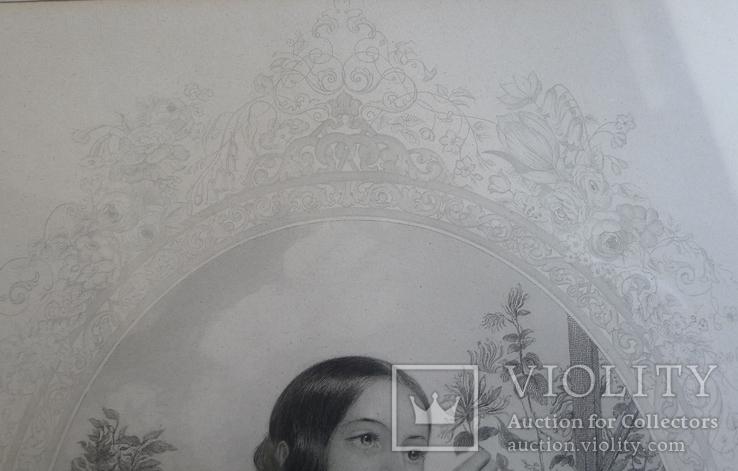 Французская гравюра середины 19 века. Девушка с цветами., фото №4