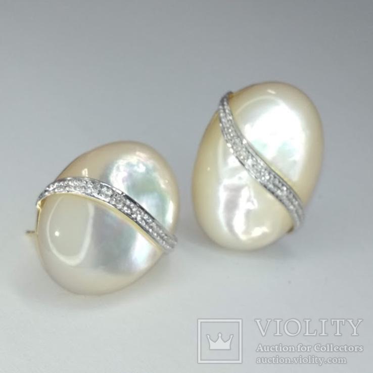 Винтажные золотые серьги с натуральным перламутром и бриллиантами, фото №4