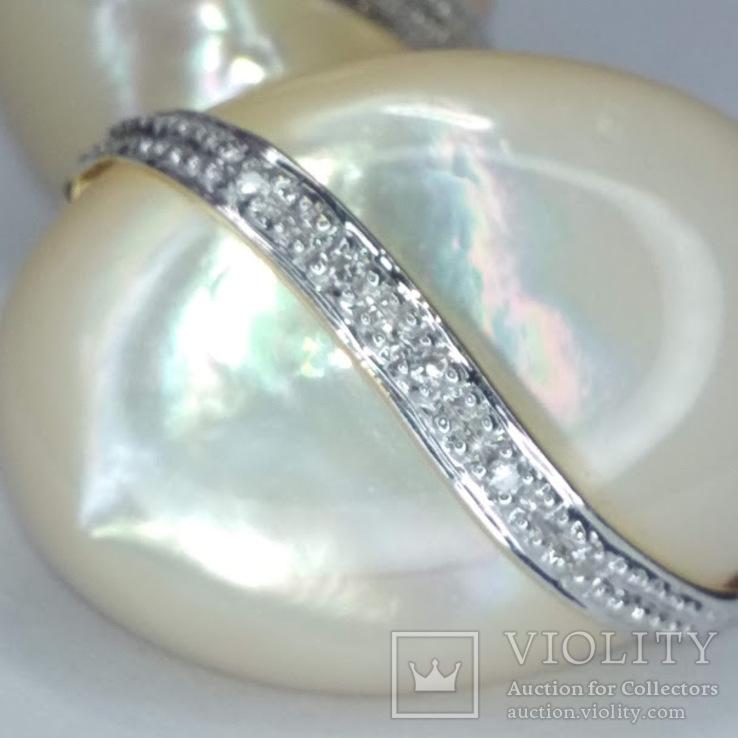 Винтажные золотые серьги с натуральным перламутром и бриллиантами, фото №5