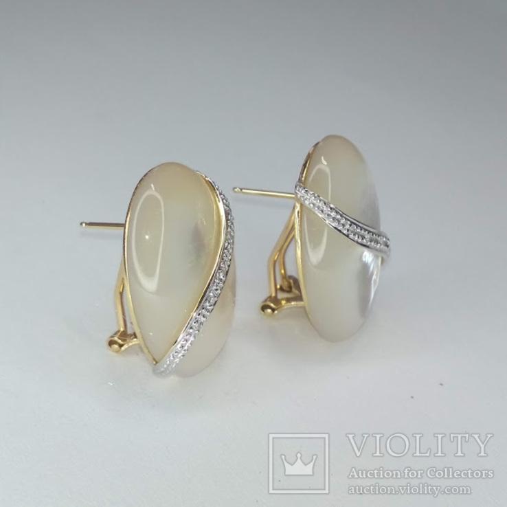 Винтажные золотые серьги с натуральным перламутром и бриллиантами, фото №9