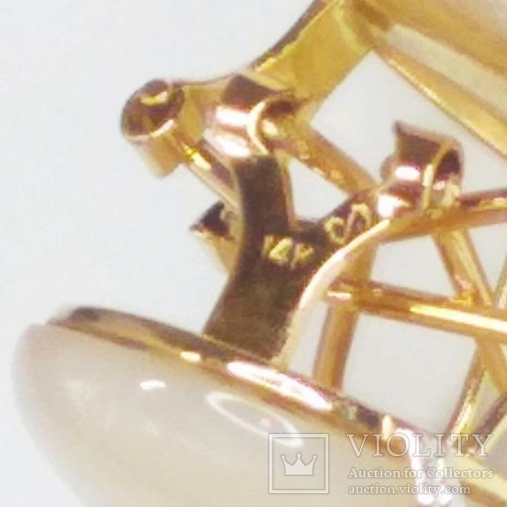 Винтажные золотые серьги с натуральным перламутром и бриллиантами, фото №11