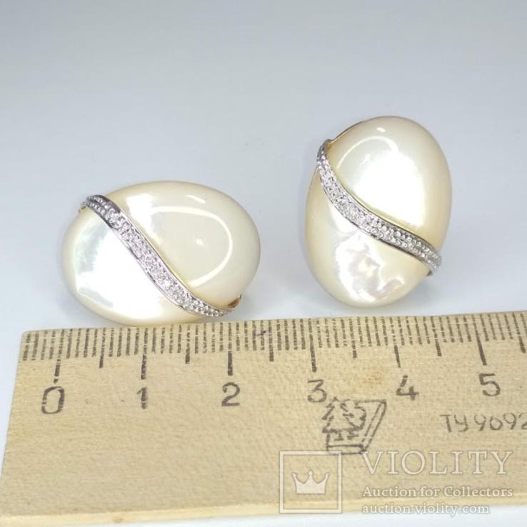 Винтажные золотые серьги с натуральным перламутром и бриллиантами, фото №12
