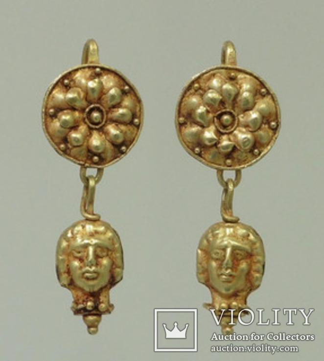 Античные золотые серьги  вес 9.1, фото №2