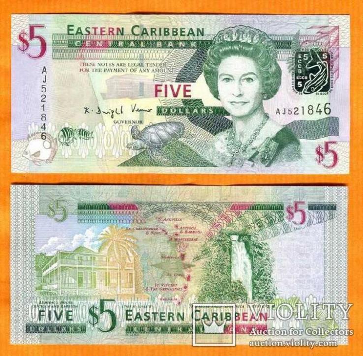 Восточные Карибы 5 долларов 2015 фауна черепаха UNС