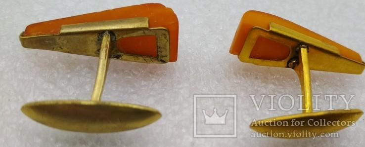 Запонки СССР янтарь позолота 9ЯК, фото №5