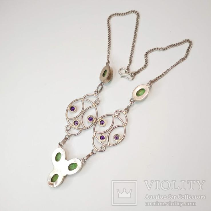 Серебряное колье с цветными камнями, фото №8