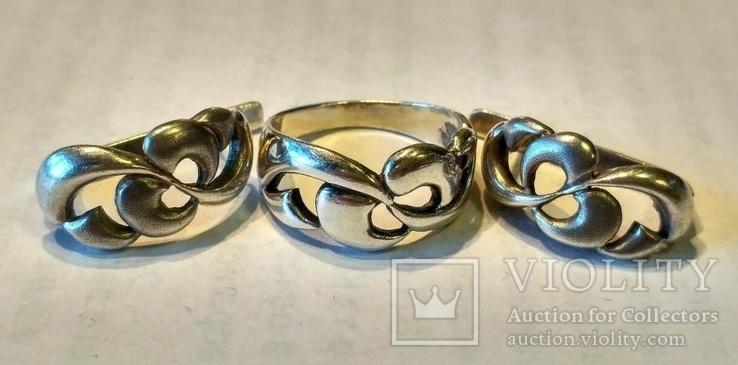 Гарнитур 5 кольцо и серьги серебро, фото №2