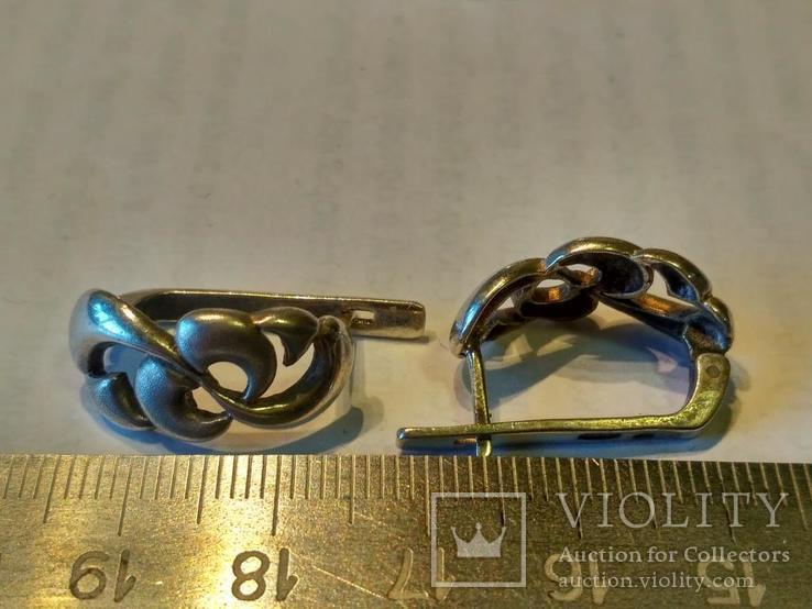 Гарнитур 5 кольцо и серьги серебро, фото №3