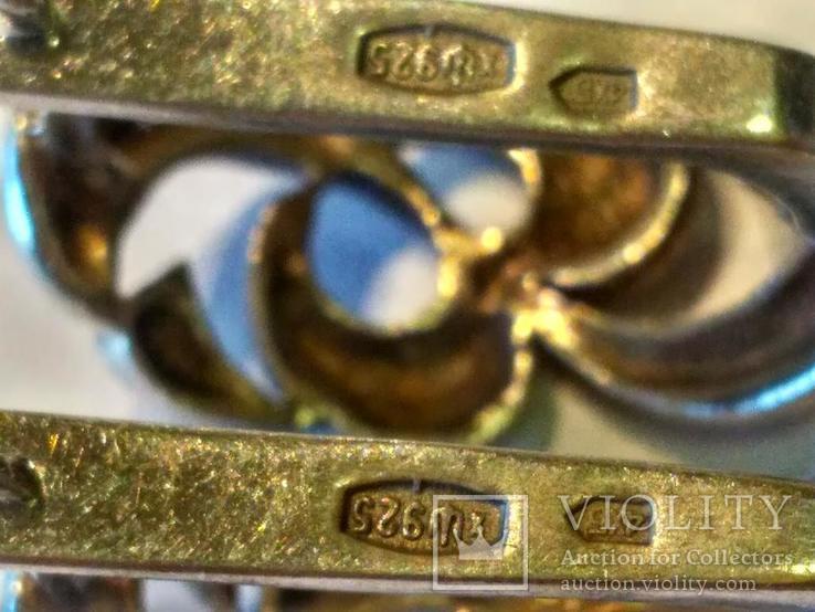 Гарнитур 5 кольцо и серьги серебро, фото №6