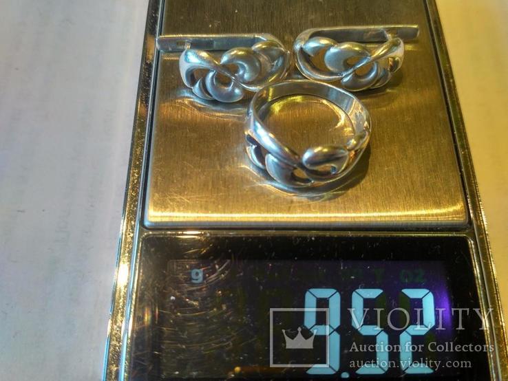 Гарнитур 5 кольцо и серьги серебро, фото №8