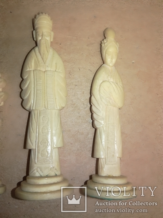 Шахматы старинные с фигурками из кости. Футляр., фото №4
