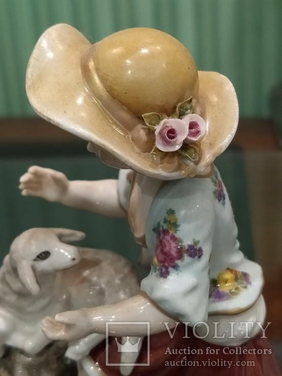Девочка с ягненком коллекционная статуэтка фарфор клеймо, фото №10