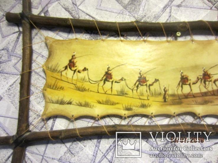 Картина (техника масло на коже) 60 x 30см, Африка, фото №3