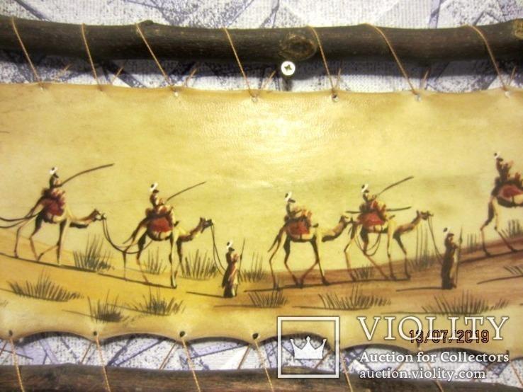 Картина (техника масло на коже) 60 x 30см, Африка, фото №6