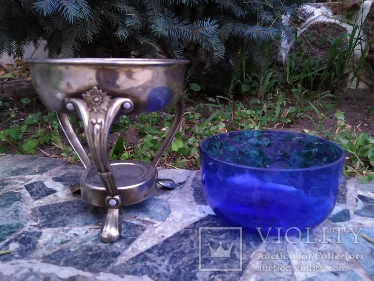 Ваза конфетница изящная металл стекло, фото №9