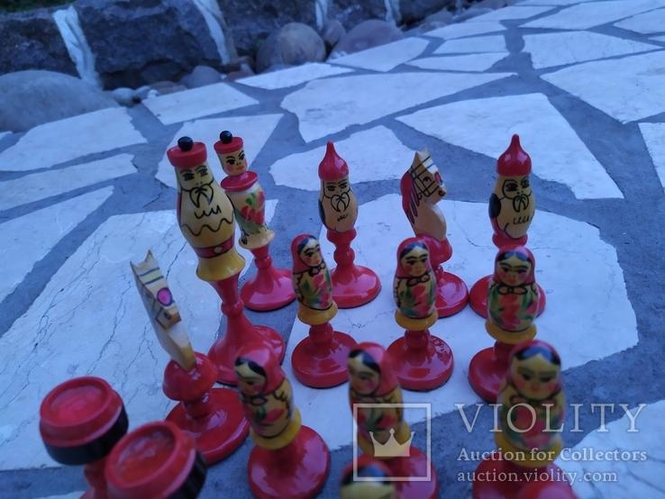Шахматы набор росписные яркие новые, фото №5