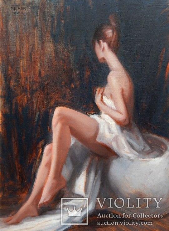 ''Ню с белой тканью'' (в раме), 40х30см (2019)