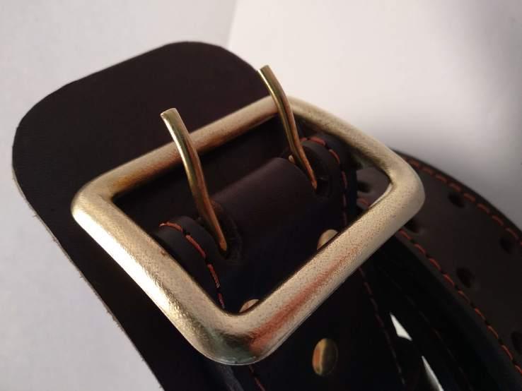 Портупея, офицерский ремень коричневый, двойная кожа, фото №4