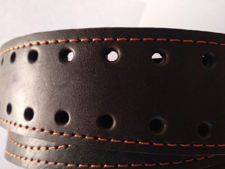 Портупея, офицерский ремень коричневый, двойная кожа, фото №7