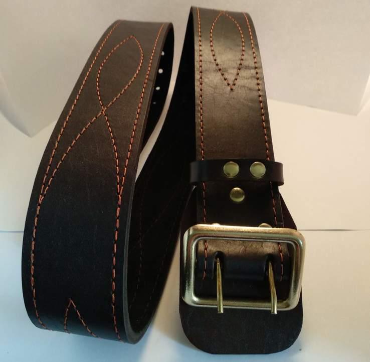 Портупея, офицерский ремень коричневый, двойная кожа, фото №9