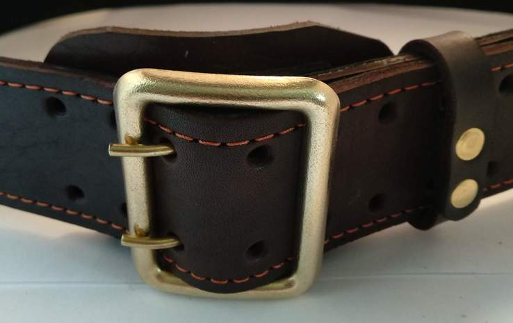 Портупея, офицерский ремень коричневый, двойная кожа, фото №12