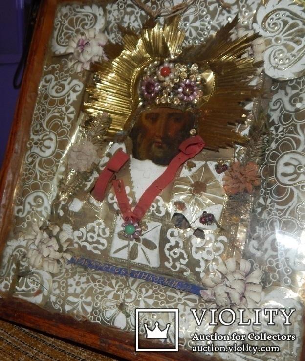 Икона Св. Николай. Дерево 46 Х 40 см., фото №5