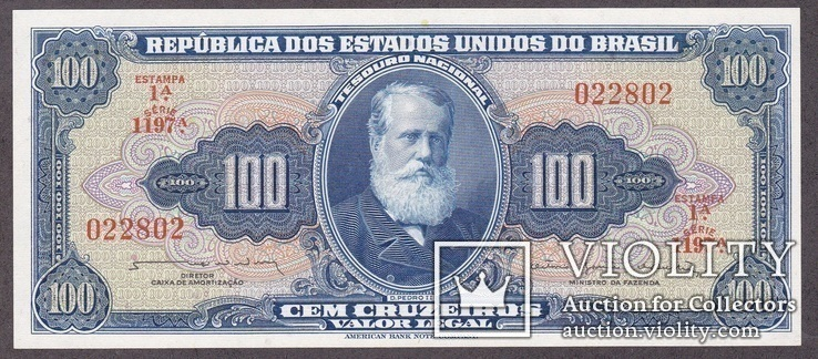 Бразилия / Brasil 100 Cruzeiros 1964 г. UNC, фото №2