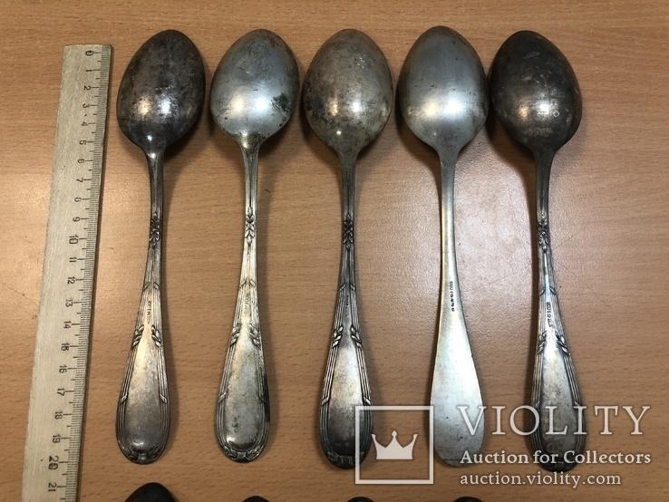 Набор серебряных столовых ложек 800 пробы - 10 шт. 602 грамм, фото №6